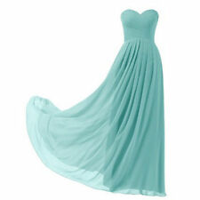 Sweetheart Ruched Long Bridesmaid Prom Gown Formal Evening Party Chiffon Dresses