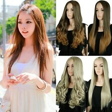FASION WOMEN GIRL 3/4 HALF WIG FULL WINS NATRUAL THICK STRAIGHT CURLY WAVY LONG
