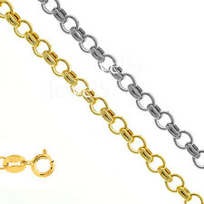 """10k Hollow Yellow Or White Gold 1.9mm Rolo Chain Necklace 10"""" 16"""" 18"""" 20"""""""