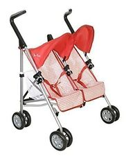 Silver Cross Pop Duo. Twin Dolls Buggy. (Domino Red Fabric)