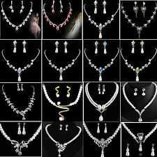 Yeah Wedding Bridal Crystal Rhinestone Faux Pearl Necklace Earrings Jewelry Set