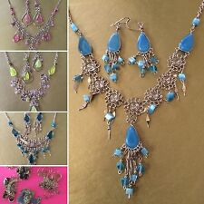 FINE PERUVIAN JEWELRY NECKLACE AND EARRINGS SET MADE OF ALPACA SILVER