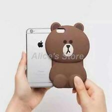For Apple iPhone 5S 6 6Plus Cute 3D Cartoon Brown Bear Soft Silicone Case Cover