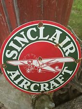 Vintage porcelain sinclair aviation airplane old gas oil garage sign rare