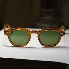 Retro Vintage Depp sunglasses dark blonde frame light green/green glass lens