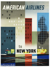 """New York American Airlines Travel Vintage Poster or Canvas Print 22""""x28"""""""