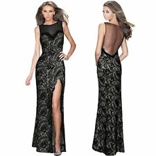 Sexy Ladies Lace Split Maxi Formal Party Prom Ball Gown Evening Long Dress