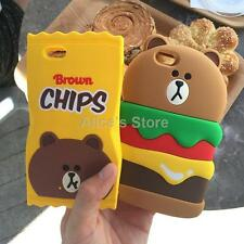 Cute Food Hamburger Chips Bear Soft Silicone Case Cover For iPhone 5S 6 6S Plus