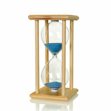 Wood Frame Sea Blue Sandglass Hourglass Sand Timer Decor Gift-15/30/45/60 Minute