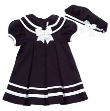 Toddler Girls Rare Editions Navy Sailor Dress And Hat Set, Size 3T & Size 4T