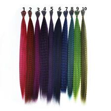 Lot 50/100pcs 16'' Grizzly Synthetic Feather Hair Extensions Long Multicolor