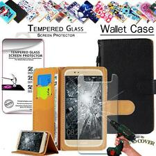 Leather Wallet Case+100%Tempered Glass Screen Protector For Huawei Ascend Phones