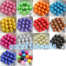 6-20MM Solid Colors Acrylic Round Ball Jewelry Spacer Beads Charm Free Shipping