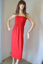 Red Dress, Long Smocked Maxi Strapless Casual Sun Party Plus Size 1X