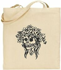 Tote Bag - Skull With Flowers