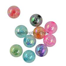 50/10PCS CRACKLE ROUND BALL ACRYLIC ROUND BEADS JEWELLERY MAKING FINDINGS DIY