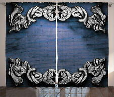 Curtain Satin Blue Victorian Royal Patterns Modern 2 Panels Set