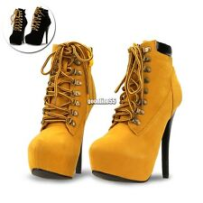 Women Pointed Toe Chelsea High Heel Lace Up Ankle Boots Shoes Size UK 5 6 EA9