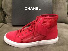 CHANEL 15P Suede Mesh Fabric Lace Up High Hi Top Sneakers Kicks Shoes Red $850