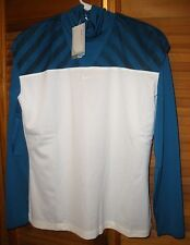 NWT Nike Golf Womens Dri-FIT Novelty 2 in 1 Mock LS Shirt Top Sz M - Teal White