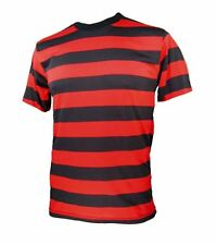 NYC Short Sleeve PUNK GOTH Emo Striped Shirt Black Red S M L XL