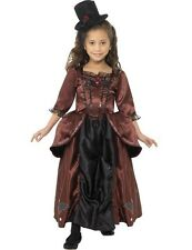 Child Girls Victorian Gothic Vampiress Vampire Halloween Fancy Dress Costume