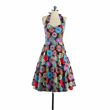 50'S 60'S Womens Vintage Colorful Floral Print Swing Pinup Cocktail Party Dress