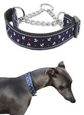 Martingale Dog Collar Blue Anchors M L Greyhound Whippet Training Choke Chain