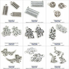 Antique Silver Jewelry Making Charms Chinese Abacus Coins Blessed Love Dragon