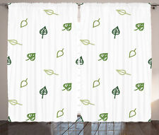 Modern Minimalistic Leaf Style Abstract Pattern Floral Art Curtain 2 Panels Set