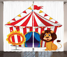 Lion and Fire Ring in Circus Tent Light Flags Flame Design Curtain 2 Panels Set