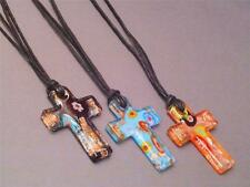 Christian Pendant Necklace COPPER TINTS Cross LAMP WORK GLASS Various Colors