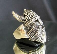 BRONZE RING THE VIKING MASK WITH HORNS WARHAMMER THOR ANTIQUED ANY SIZE