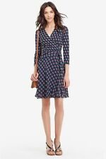 NWT Diane von Furstenberg Irina Silk Zen Flora Midnight Wrap Dress 12 $498