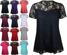 Ladies Floral Lace Short Sleeve Flower Lined Patterned Stretch Tunic Party Top