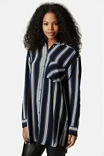 Topshop Blue & Black Striped Grandad Shirt Tunic with Long Sleeves