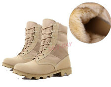 Mens Warm Desert Boots Military Army SWAT Tactical Combat High Top Leather Shoes
