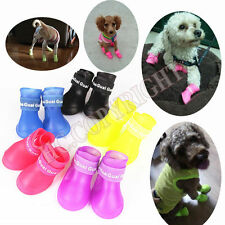 S M L 4pcs Candy Color Puppy Pet Dog Rain Shoes Booties Anti-slip Waterproof Paw