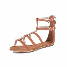 Ladies strappy flat gladiator sandals with diamante detail