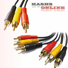 TRIPLE 3X RCA PHONO Male Plug Audio Video AV Cable TV Gold [A41]