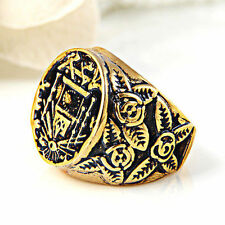 Masonic Ring Men's Gold Plated Antique Freemason 316L Stainless Steel Size 8-9