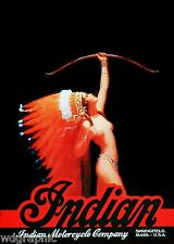 Indian Maiden Motorcycle Advertising -  Vintage Poster or Canvas Print 14x20