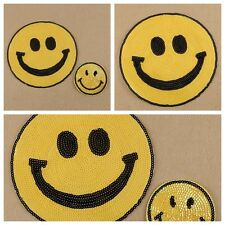 Sequins Happy Smile Face Yellow Iron On Applique Embroidered Patch DIY Sewing JB