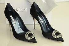 New Manolo Blahnik OIDO Jeweled Crystals Black Satin Shoes Pumps Heels 39.5 40