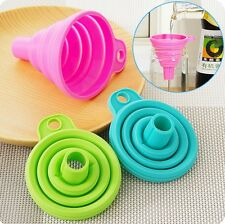 Foldable Practical Collapsible Silicone Funnel Hopper Kitchen Tool Gadget Hot