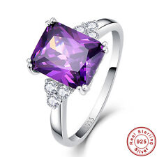 Emerald Cut Amethyst White Topaz 100% Solid 925 Sterling Silver Rings Sz 6 7 8 9