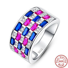Ruby & Sapphire Jewelry Fine 100% Solid S925 Sterling Silver Rings Size 6 7 8 9