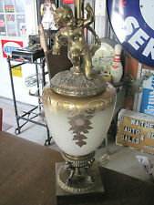 Hollywood Regency Cherub Off-White Cream Glass Urn Table Lamp Vintage Gold