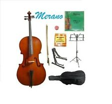 New MERANO 4/4 - 1/16 Size Student Cello+Bag+Bow+Rosin+Strings+2 Stands+Tuner