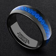 8MM Men's Black Tungsten Carbide Engagement Ring Wedding Band Blue Carbon Fiber